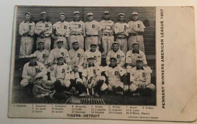 Antique Postcard 1907 Detroit Tigers American League Pennant Winners W/ TY COBB