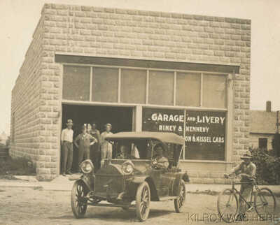 1912 RPPC Auto Garage Livery Riney & Kennedy Hartford Wisc Hupmobile Kissel Cars