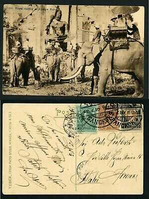 Siam Thailand Siamese royalty visit Ayuthia ruins Buddhist 1923 postcard Asia