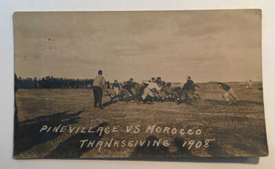 Ant.Real Photo Postcard RPPC Pine Village Indiana V Morocco Indiana Football1908