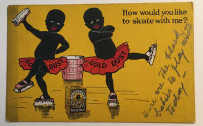 BLACK AMERICANA ANTIQUE ADVERTISING POSTCARD-GOLD DUST TWINS SKATING PM 1910 VG