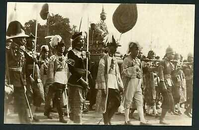 Siam Thailand Siamese royalty king procession real photo c1920 postcard Asia