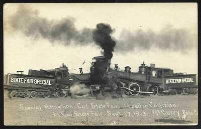 1913 California State Fair Train Wreck RPPC by McCurry