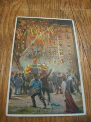 FIGHTING THE FLAMES DREAMLAND CONEY ISLAND N.Y  H-T-L HOLD TO LIGHT POSTCARD