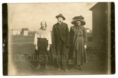 Vintage RPPC Real Photo Postcard STRANGE PEOPLE IN MASKS! South Whitley, Indiana
