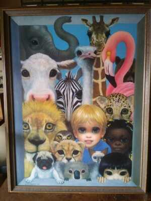 "Margaret Keane 1994 ""Animal Kingdom"" Signed Canvas Painting"