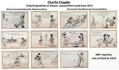 CHARLIE CHAPLIN POST CARD Set of 11 - Near Mint unused - 1915 Essanay - RARE