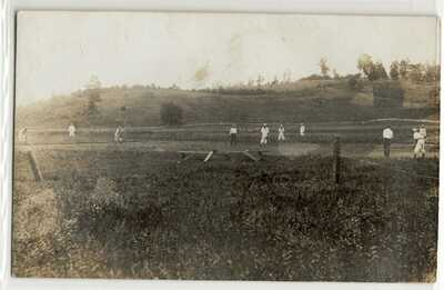 Baseball game, players, Cowen, West Virginia; Webster old photo postcard RPPC X