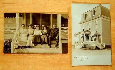 2 Photo Postcards UNCLE JOE'S LUNCH ROOM & Staff BIDDEFORD POOL Maine ME Moxie