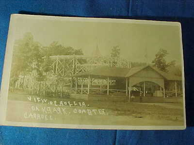 Early 20thc VIEW of ROLLER COASTER At OAK PARK REAL PHOTO POSTCARD