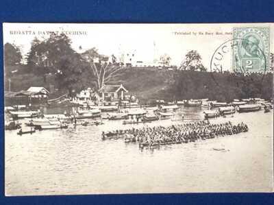Sarawak ,  Regatta Day at Kuching , Ha Buey Hon  1909 stamped not posted