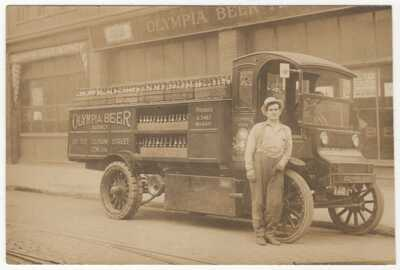 Two circa. 1910-PORTLAND, Oregon-OLYMPIA BEER-Truck-Office-RPPCs--Trimmed-1 Poor