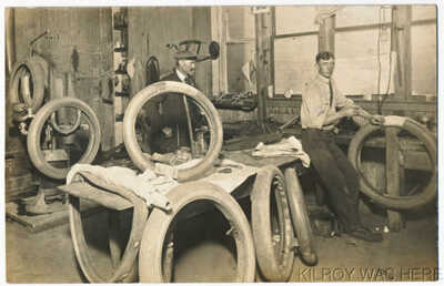 1908 RPPC Interior Tire Repair Shop Sharp Focus Fantastic 1 Of The Best I've Had