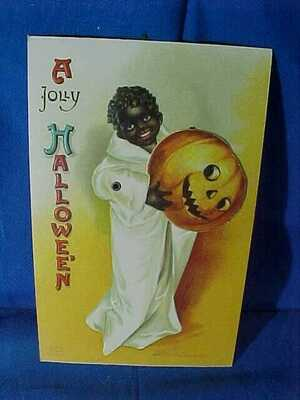 Early 20thc HALLOWEEN Clapsaddle POSTCARD- BLACK AMERICANA Image Mechanical Card