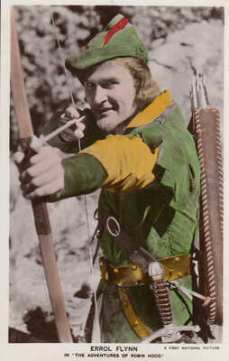 Errol Flynn (Robin Hood) Colourgraph Series postcard