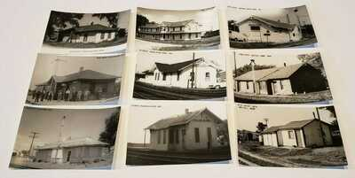 66 real photo postcards of Nebraska train depots.  All diff., Mint. Not posted.