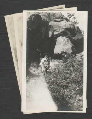 2 RPPC Postcards + 1 Photo Father Vabre Entrance to Porcupine Cave Colorado 1916
