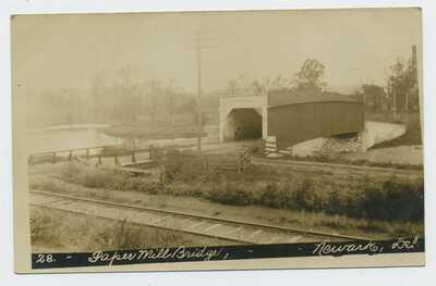 The Paper Mill Bridge Newark Delaware USA Vintage Real Photograph Postcard B7