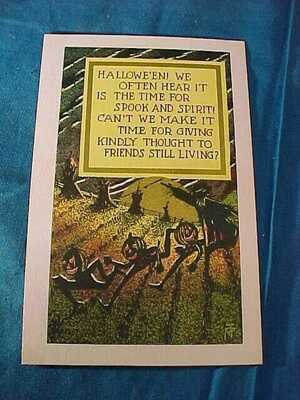 Early 20thc HALLOWEEN Postcard SPOOK + SPIRIT-w KIND THOUGHTS For FRIENDS LIVING