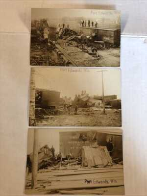 3 Real photo Postcards RPPC  Port Edwards, Wis Wisconson Train Wreck Disaster