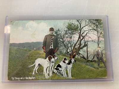Cy young as a fox hunter post card rare!