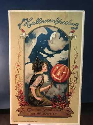 1912 Winsch Schmucker Embossed Halloween POSTCARD Beautiful Rare & Nice!!