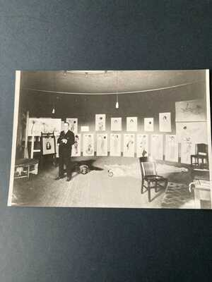 Photograph of Raphael Kirchner in his studio at the CenturyTheatre New York 1916