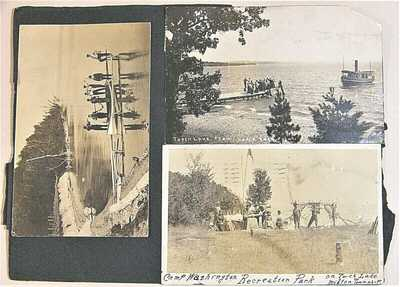 circa 1915, Torch Lake, Michigan, group of 5 rppc, Camp Washington Rec Park, ++