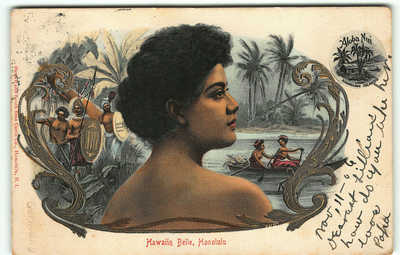 "1906 RARE ""Hawaiian Belle"" Hawaii & South Sea Curio Aloha Nui Postcard Hula Girl"