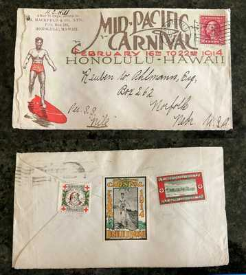 Duke Kahanamoku 1914 Mid Pacific Carnival Cover Hawaii Poster Stamp Surfing