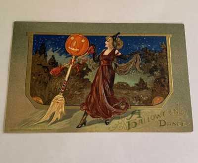 1912 Scarce Vintage Winsch Halloween Postcard - Halloween Dance - Pretty Lady