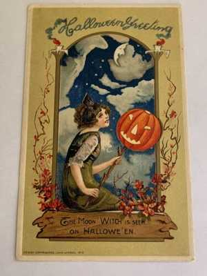 1912 Scarce Vintage Winsch Halloween Postcard - Moon Witch - Pretty Woman