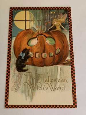 Vintage Winsch Halloween Postcard - Witch's Wand - Fairies - Checked Border