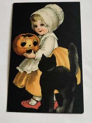 Vintage Wolf Halloween Postcard Clapsaddle - Girl With Cat - Black Background