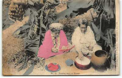 1908 Hilo Drug Store #87 Hawaii Native Women Postcard Hand-tinted Japan