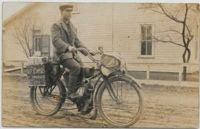 Farmersville,Ohio-RFD Motorcycle Mail Delivery-Postman-09 Real Photo-Dayton jh11