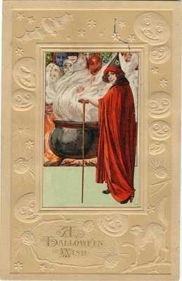 HALLOWEEN POSTCARD, VERY RARE VARIETY, JOHN WINSCH, SAMUEL SCHMUCKER, 1912.