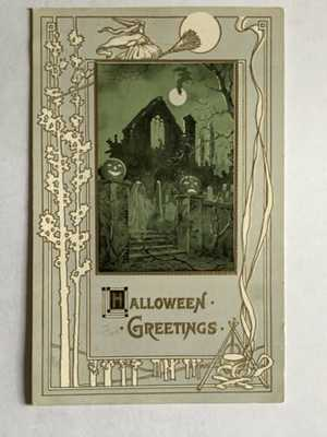 Vintage 1911 Embossed Halloween Postcard - Haunted House - JOL Pumpkins - Ghost