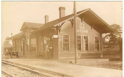 1921 McComb Oklahoma Santa Fe Railroad Station Depot White Waiting Room RPPC