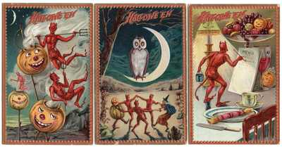COMPLETE SET OF 12, HALLOWEEN POSTCARDS, PUB. BY RAPHAEL TUCK & SONS SERIES 160