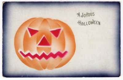 HALLOWEEN POSTCARD AIRBRUSH STYLE, PUBLISHED BY ROSE Co., RARE COLOR COMBINATION