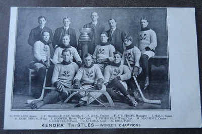 1907 Postcard Stanley Cup Winners Kenora Thistles Hockey Team CANADA ART ROSS