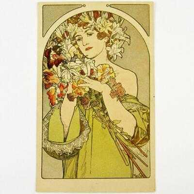 "ANTIQUE CZECH ART NOUVEAU ARTIST ALPHONSE MUCHA ""THE FLOWER"" FRENCH POSTCARD"