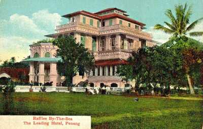 old postcard MALAYA - MALAY STATES - PENANG, Raffles Hotel by the Sea, colorful
