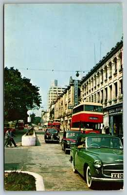 CHINA HONG KONG Kowloon Nathan Road, Old Cars, Street View Vintage Postcard A44