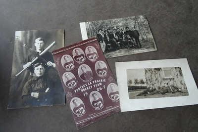 4 RPPC 1906 - 07 PORTAGE LA PRAIRIE MANITOBA CANADA HOCKEY TEAM & BASEBALL TEAM