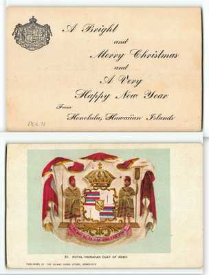 Fancy Script Overprint Merry Christmas #39 Island Curio Store Postcard - Hawaii