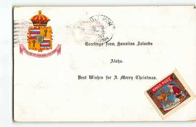 Actual Christmas Postcard from Steiner Book #20 Island Curio Co. Hawaii Greeting