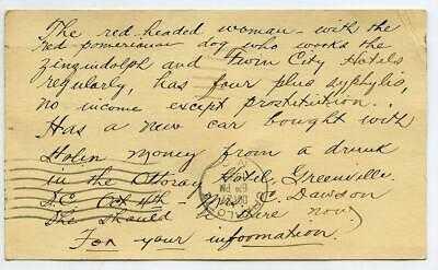 1939 Postcard Redhead Prostitute Pomeranian Dog Syphilis Winston Salem NC Police