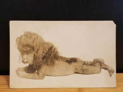 Vintage RPPC Real Photo Postcard Carnival Freak Circus Sideshow Hairy Lion Child